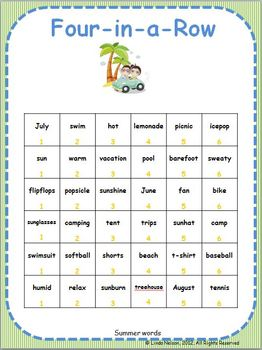 Summer Fun Four-in-a-Row Vocabulary Game