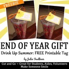 Summer Gift Topper/Tag for Student End of Year Gifts