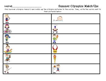 Summer Olympics Memory Match-Ups FREEBIE