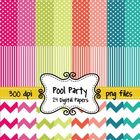 Summer Pool Party Digital Background Papers in Chevron, Po
