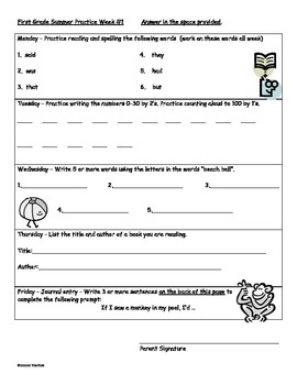 Summer Preparation Guide for 1st Grade