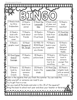 Summer Reading Bingo for Fourth Grade going to Fifth Grade
