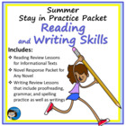 Summer Stay in Practice Packet - Writing, Editing, Spellin