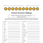 Summer Synonyms Challenge - Thesaurus / Center / Sponge /