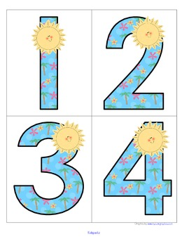 Summer Theme - Set of Large Numbers 0-20 FREE