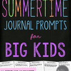 Summer-Themed Journal Prompts for Middle Grades to Middle School