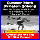 "Summer ""Themed"" Math Problem Solving Menu (Common Core Aligned)"
