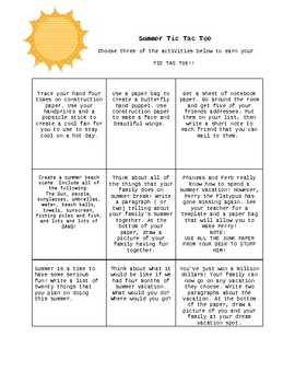 Summer TicTacToe Game- Classroom Arts and Crafts-Last Week