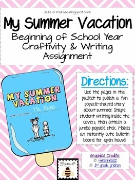 Summer Vacation Writing Kit {with popsicle craftivity}