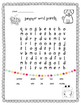 Summer Word Search - K/1/2