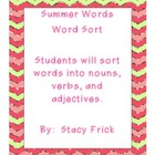 Summer Words Word Sort