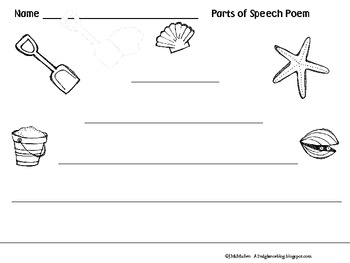 Summertime Parts of Speech Poem
