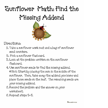 Sunflower Math: Addition, Subtraction, & Find the Missing Addend