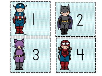 Super Hero Number Flashcards