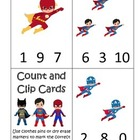 Super Heroes themed Count and Clip Cards preschool learnin