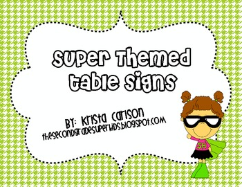 Super Themed Table Signs