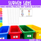 Survey Says!  Name Writing Practice + Survey Graphing Fun!