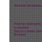 Survival signs for flashcards