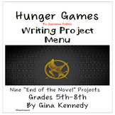 """Suzanne Collins """"Hunger Games"""" Enrichment Writing Project Menu"""