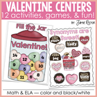 Sweetheart Valentine 12 Math & Literacy Centers - Aligned to CCSS