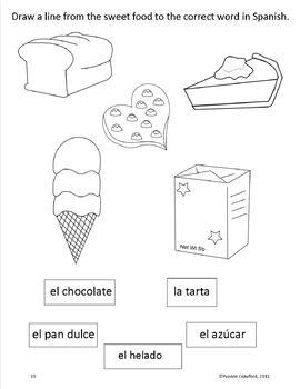 Sweets in Spanish - vocabulary sheets, worksheets, matching game
