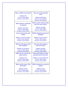 Swindle Reading Comprehension Activity Game Board for Novel Study