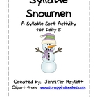 Syllable Snowmen: Syllable Sort Word Work Activity