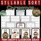 Syllable Sort Christmas Puppies Themed Center Game for Com