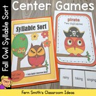 Syllable Sort Fall Owls Themed Center Game for Common Core