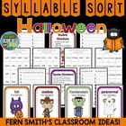 Syllable Sort Halloween Themed Center Game for Common Core