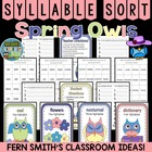 Syllable Sort Spring Owls Themed Center Game for Common Core
