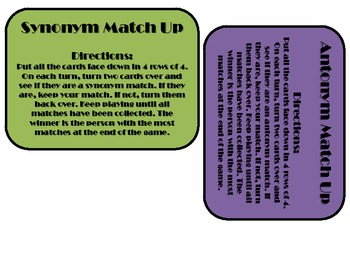 Synonym & Antonym Match Up Game