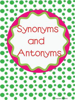 Synonym and Antonym Matching Cards