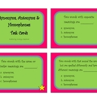 Synonyms, Antonyms &amp; Homophones Task Cards