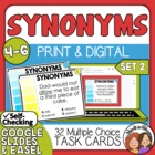 Synonyms Task Cards: 32 Multiple Choice Cards for Grades 4