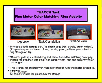 TEACCH TASK- Fine Motor Color Ring Match Activity - Autism