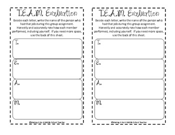 T.E.A.M. ~ Cooperative Group Job Descriptions {Black Dots}