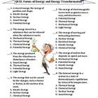TEST: Forms of Energy & Energy Transformations