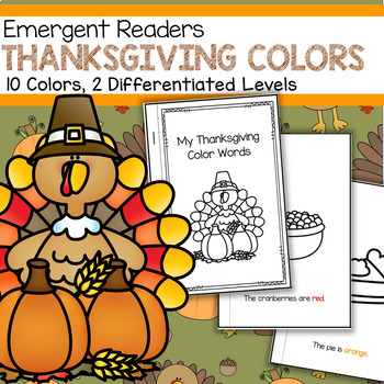 THANKSGIVING Emergent Reader Coloring Words - 2 levels