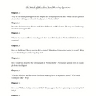 THE WITCH OF BLACKBIRD POND Chapter Reading Questions