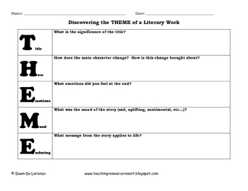 THEME ~ An Acronym Graphic Organizer