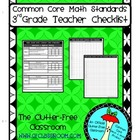 THIRD Grade TEACHER CHECKLIST for Common Core Math Standar
