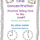 TIME CONCENTRATION!  A Telling Time to the HOUR Game!