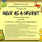 TOC Close Reading Activities: Quick As A Cricket