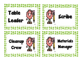 Table Job Labels (Green Polka Dot)