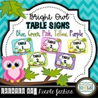 Table Signs Bright Owl Chevron (pink, purple, yellow, gree