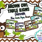 Table Signs Brown Owl Chevron Theme (Brown, Blue, Aqua, Green)
