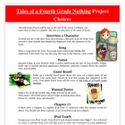 Tales of a Fourth Grade Nothing Reading Creative Project A