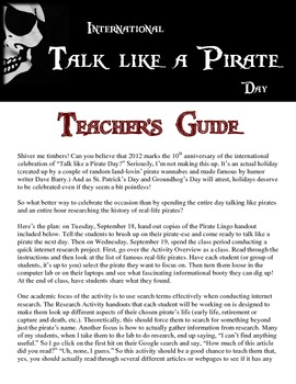 """Talk like a Pirate Day"" - Fun Research Activity"