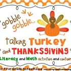 Talking Turkey and Thanksgiving Literacy and Math Activiti